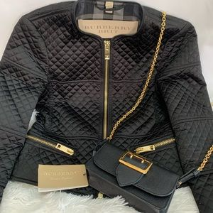 Burberry Brit Black Quilted Cropped Jacket Sz 4 oc